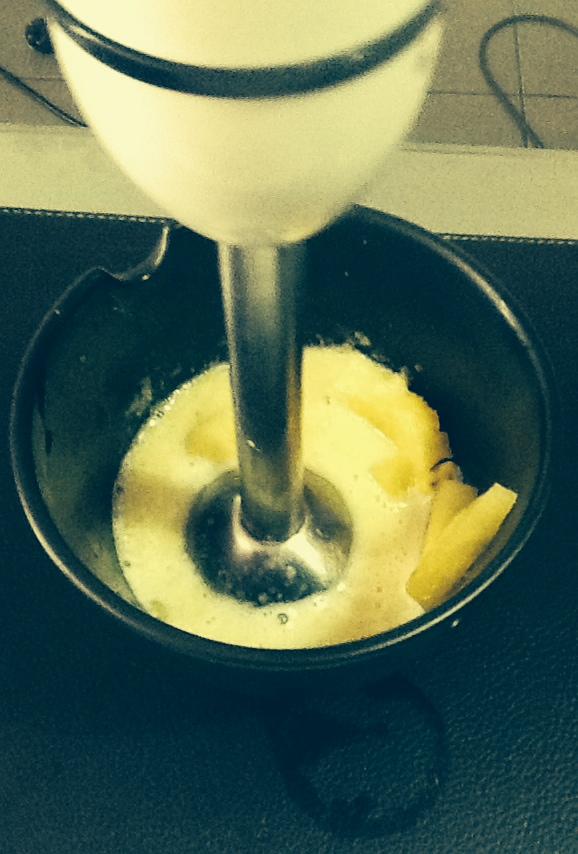 Blending the pineapple
